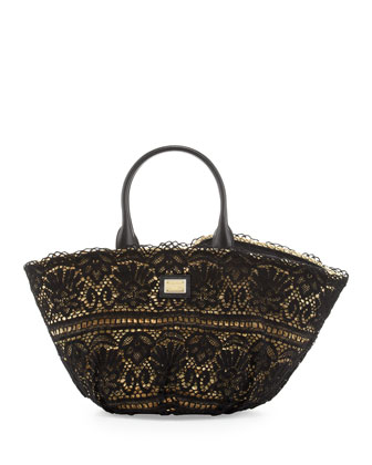 Kendra Lace Straw Tote Bag, Black