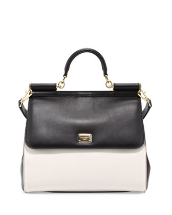 Miss Sicily Bicolor Medium Satchel Bag, Black/White