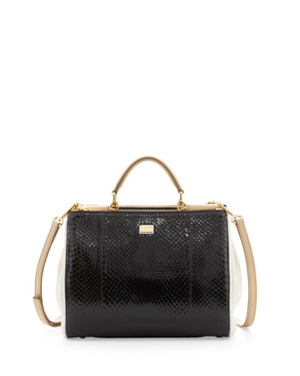 Miss Sicily PythonSatchel Bag, Black/White