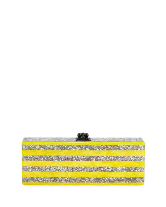 Flavia Striped Star-Confetti Clutch Bag, Silver/Yellow