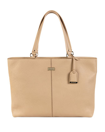 Leather East/West Tech Tote Bag, Sandstone