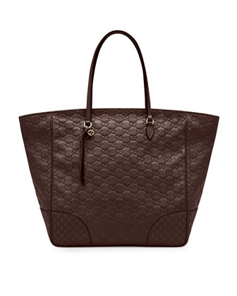 Bree Guccissima Leather Top-Handle Bag, Dark Brown