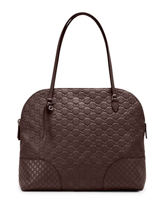 Bree Guccissima Leather Shoulder Bag, Dark Brown
