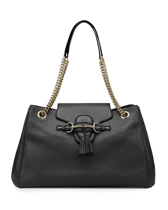 Emily Leather Shoulder Bag, Black