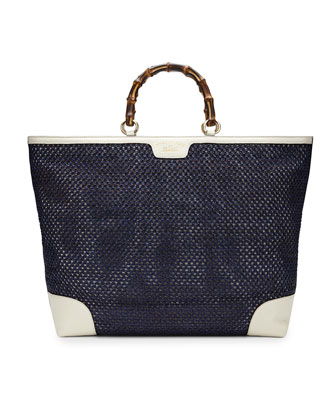 Bamboo Shopper Straw Tote Bag, Blue/White