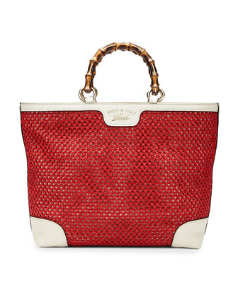 Bamboo Shopper Straw Tote Bag, Red/White