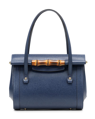 New Bullet Leather Top Handle Bag, Navy