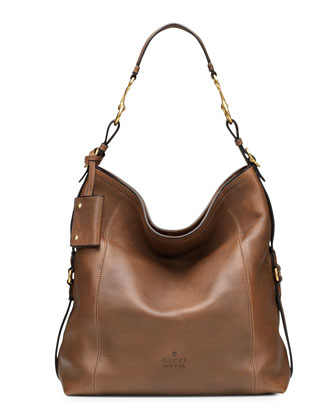 Harness Leather Hobo Bag, Tan
