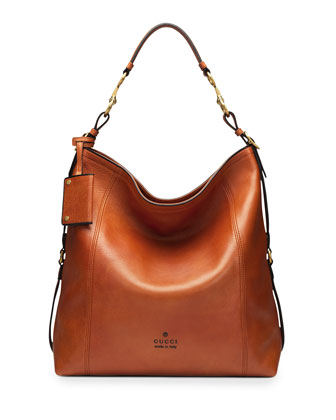Harness Leather Hobo Bag, Burnt Orange