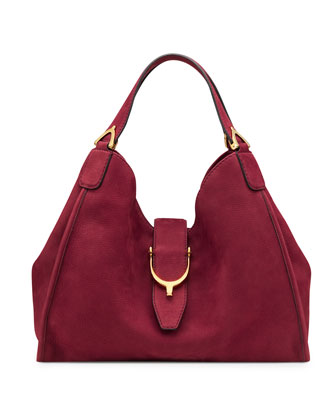 Soft Stirrup Suede Shoulder Bag, Dark Red