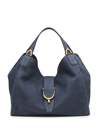 Soft Stirrup Suede Shoulder Bag, Blue