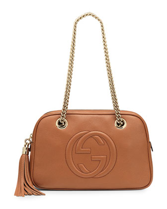 Soho Leather Double-Chain-Strap Shoulder Bag, Tan