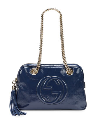Soho Small Leather Shoulder Bag, Blue