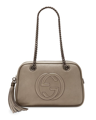 Soho Small Metallic Leather Shoulder Bag, Gunmetal