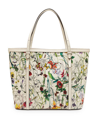 Gucci Nice Flora Leather Tote Bag