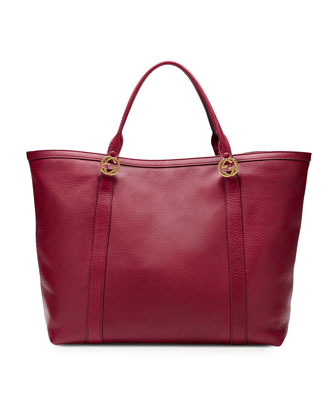 Miss GG Large Leather Tote, Dark Red