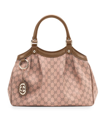 Sukey Medium Original GG Canvas Tote, Pink/Tan
