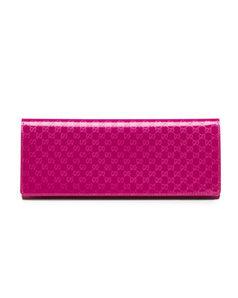 Broadway Microguccissima Patent Leather Evening Clutch, Fuchsia