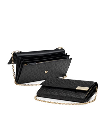 Dice Microguccissima Leather Chain Wallet, Black