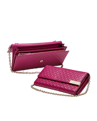 Dice Microguccissima Leather Chain Wallet, Fuchsia