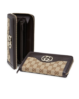 Sukey Original GG Canvas Zip Around Wallet, Brown