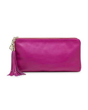 Broadway Leather Evening Clutch, Fuchsia
