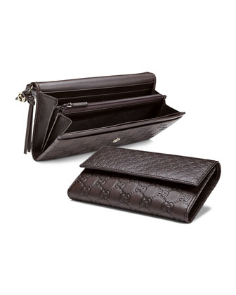 Bree Guccissima Leather Continental Wallet, Dark Brown
