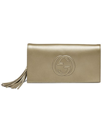 Soho Metallic Leather Clutch, Gold