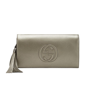 Soho Metallic Leather Clutch, Gunmetal