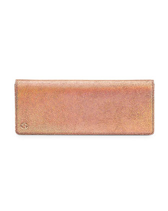 Broadway Crackled Metallic Leather Clutch, Peach