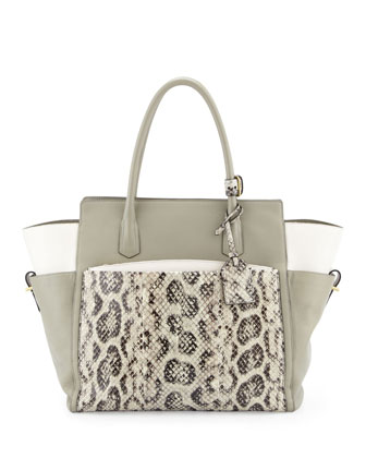 Atlantique Soft Leather & Anaconda Tote Bag