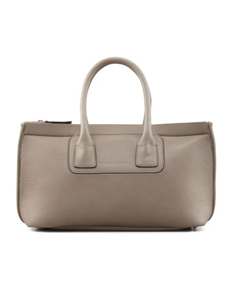 Neoprene/Leather Small Tote Bag, Dark Gray