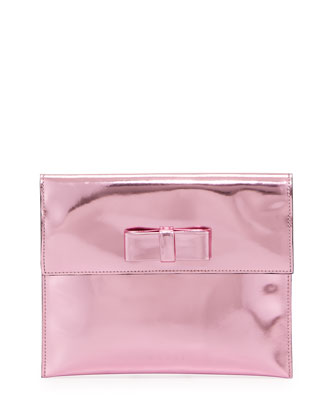 Metallic Bow Flap Clutch Bag, Pink