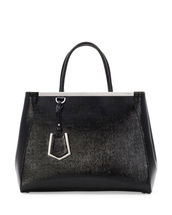 2Jours Glazed Saffiano Tote Bag, Black