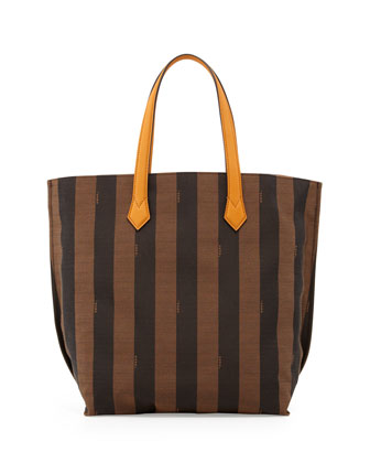 Pequin Striped Shopping Tote Bag, Brown/Yellow