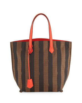 Pequin Striped Canvas/Leather Shopper Tote Bag, Brown/Red Orange