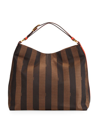 Pequin-Stripe Hobo Bag, Brown/Red Orange