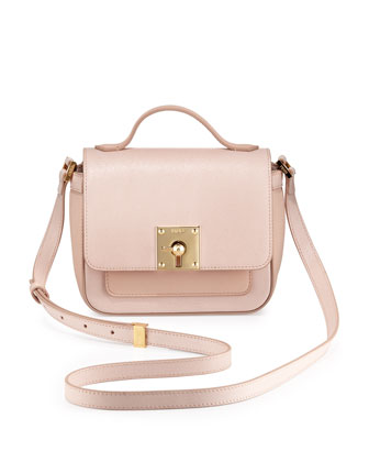 Mini Borsa Leather Crossbody Bag, Light Pink