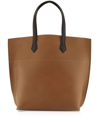 All In Medium Leather Tote Bag, Brown/Black