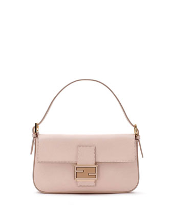 Leather Baguette with Strap, Light Pink