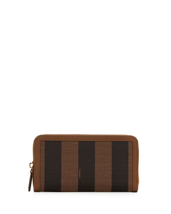 Pequin Stripe Continental Zip Wallet, Brown/Green