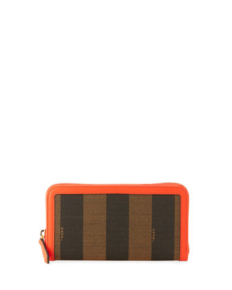 Pequin Stripe Continental Zip Wallet, Brown/Red Orange