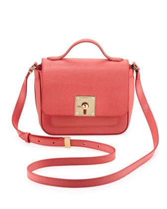 Mini Borsa Leather Crossbody Bag, Pink