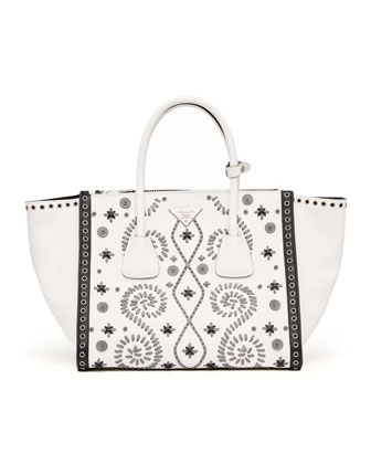 Embroidered Saffiano Twin Pocket Tote Bag, White/Gray