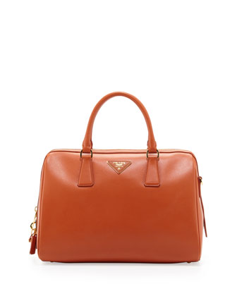 Saffiano Bowler Bag with Strap, Orange (Papaya)