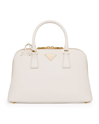 Medium Saffiano Promenade Bag, White (Talco)