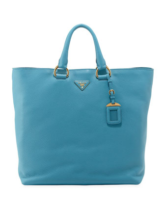 Vitello Daino Open Shopper Tote Bag, Light Blue (Voyage)