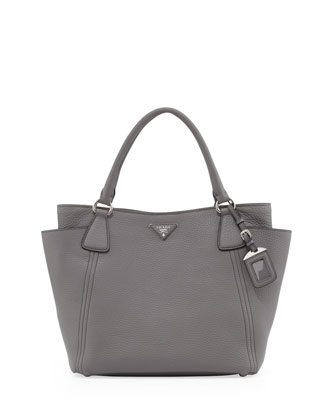 Daino Side-Pocket Tote Bag, Gray (Marmo)