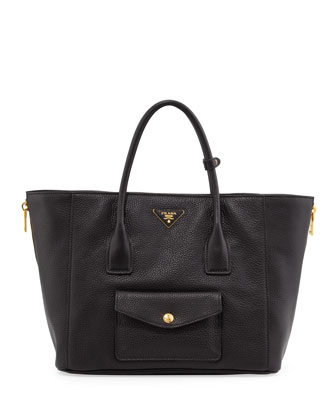Daino Side-Zip Twin Pocket Tote Bag, Black (Nero)