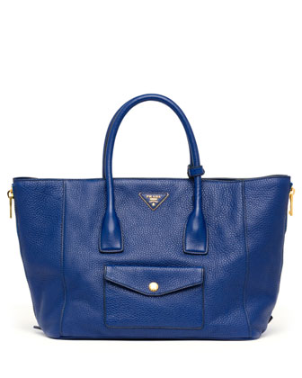 Daino Side-Zip Twin Pocket Tote Bag, Dark Blue